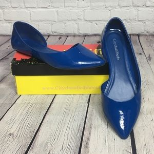Cityclassified Pendant Blue Slip On Patent Leather
